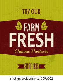 Vintage style farm fresh products poster.