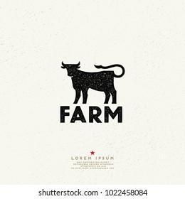 Vintage Style Farm Sign. Cow logo. Ink stamp designs.