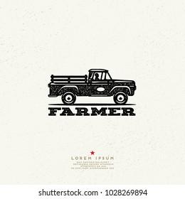 Vintage Style Farmer Logo. Ink stamp designs. Pickup truck Sign.