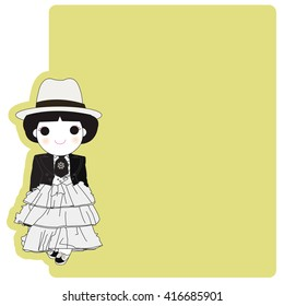 Vintage Style Fashionista Girl Character Paper Note illustration