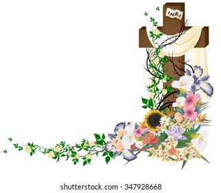 Vintage style floral Easter corner frame border or greeting card, with empty cross, flowers and thorns,  happy easter illustration.