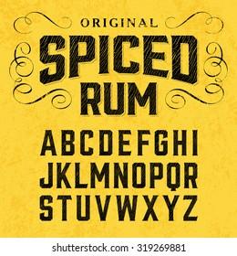 Vintage style font with sample label design. Vector.