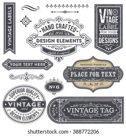 Vintage style frames, labels and banners with removable distressed texture.