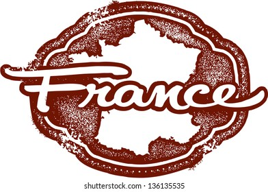 Vintage Style France Country Travel Stamp