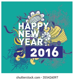 Vintage style and fun greeting card - Happy New Year 2016 - Editable