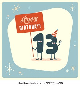 Vintage style funny 13th birthday Card.