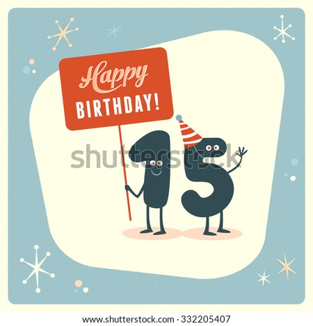 Vintage Style Funny 15th Birthday Card Stock Vector Royalty Free