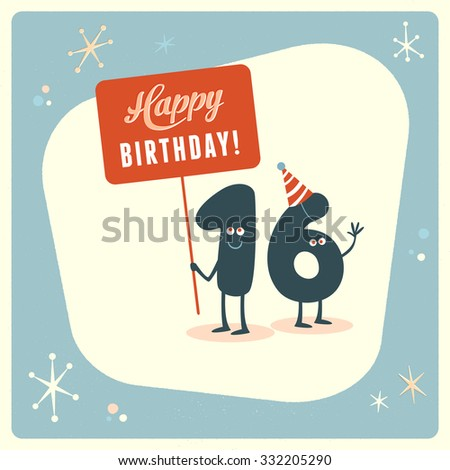 Vintage Style Funny 16th Birthday Card Stock Vector Royalty Free
