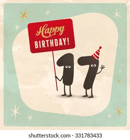 Vintage style funny 17th birthday Card  - Editable, grunge effects can be easily removed for a brand new, clean sign.