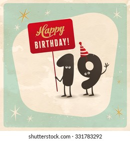 Vintage Style Funny 19th Birthday Card