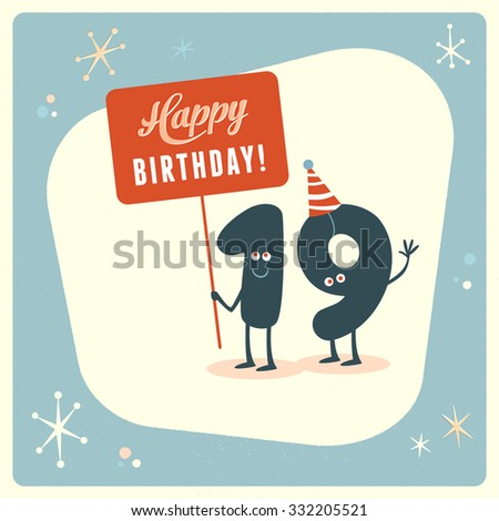 Vintage Style Funny 19th Birthday Card Stock Vector Royalty Free