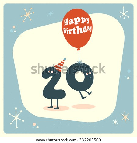 Vintage Style Funny 20th Birthday Card