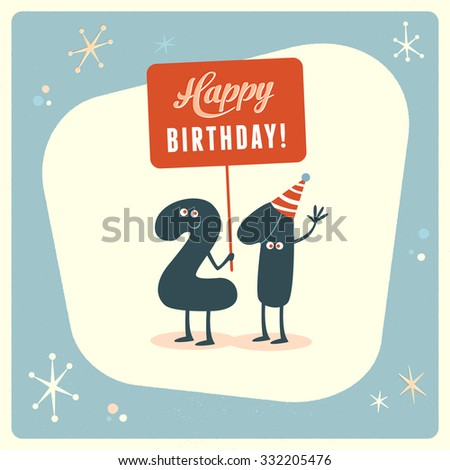 Vintage Style Funny 21st Birthday Card Stock Vector Royalty Free