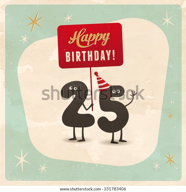 Vintage Style Funny 25th Birthday Card Stock Vector