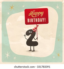 Vintage style funny 2nd birthday Card  - Editable, grunge effects can be easily removed for a brand new, clean sign.