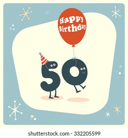Vintage style funny 50th birthday Card.