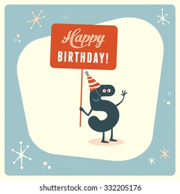 Vintage style funny 5th birthday Card.