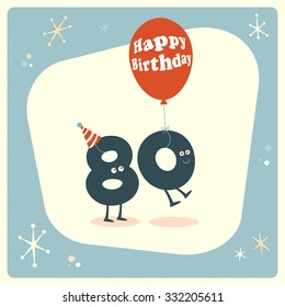 Vintage Style Funny 80th Birthday Card