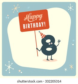 Vintage style funny 8th birthday Card.