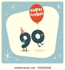 Vintage style funny 90th birthday Card.