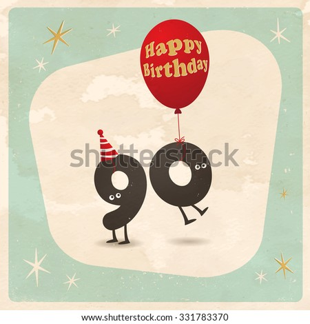 Vintage Style Funny 90th Birthday Card