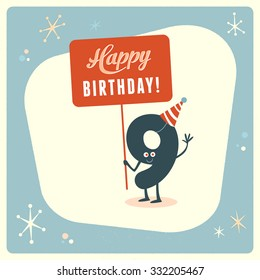 Vintage style funny 9th birthday Card.