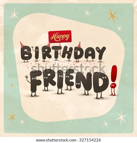 Vintage Style Funny Birthday Card Happy Stock Vektorgrafik