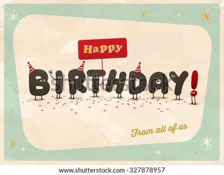 Vintage Style Funny Birthday Card Happy Stock Vector Royalty Free
