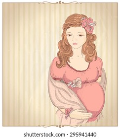 Vintage style graphic portrait of a pregnant woman in pink on a beige backdrop with place for text