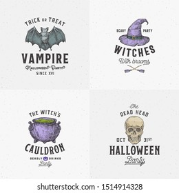 Vintage Style Halloween Logos or Labels Template Set. Hand Drawn Vampire Bat, Scull, Witch Hat and Cauldron Sketch Symbols Collection. Retro Typography. Shabby Textures Background. Isolated.
