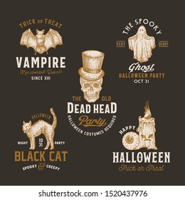 Vintage Style Halloween Logos or Labels Template Set. Hand Drawn Vampire Bat, Scull, Candle, Eye, Cat and Ghost Sketch Symbols Collection. Retro Typography. Dark Background.