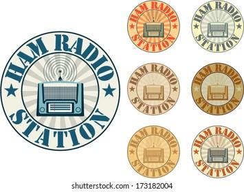 Vintage style ham radio station badges