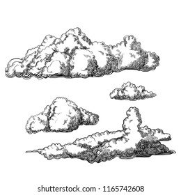 Vintage style, hand drawn cloud elements, vector set, illustration
