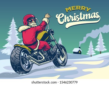 vintage style hand drawn of santa claus riding chopper motorcycle