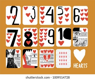 vintage style Hand drawn set of Hearts playing cards with numbers, King, queen, jack for casinos and playing houses