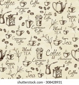 Vintage style. Hand-drawn Collection Sketches of hot drinks. Seamless background. Vector illustration.