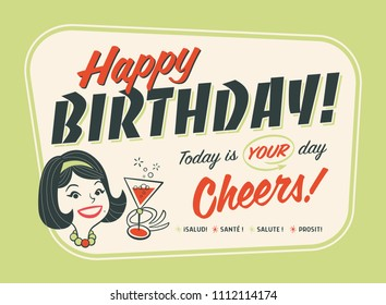 Vintage Style Happy Birthday Postcard - Cheers!