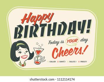 Vintage Style Happy Birthday Postcard - Cheers!