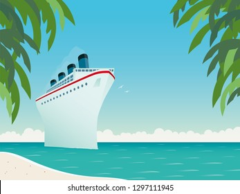 Vintage style horizontal vector illustration of giant cruise ship near tropical island