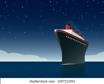 Vintage style horizontal vector illustration of giant cruise ship on the ocean at night