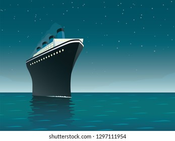 Vintage style horizontal vector illustration of giant cruise ship on the ocean at starry night