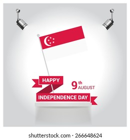 Vintage style Independence Day poster with the wording: August 9th, Independence Day, Singapore independence day poster set. spotlights on flag