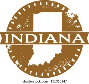 Vintage Style Indiana USA State Stamp
