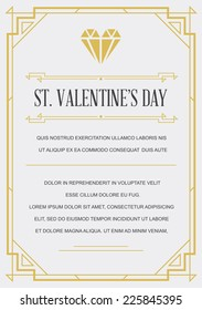 Vintage Style Invitation for Valentines Day in Art Deco or Nouveau Epoch 1920's Gangster Era Vector