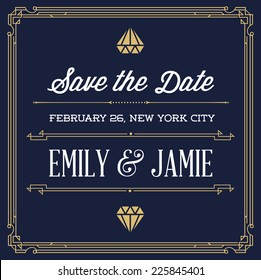Vintage Style Invitation for Wedding Save the Day in Art Deco or Nouveau Epoch 1920's Gangster Era Vector