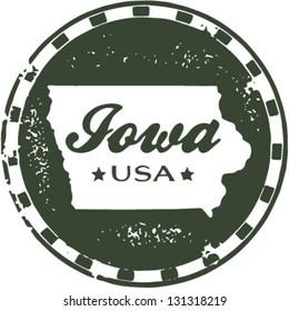 Vintage Style Iowa USA State Stamp