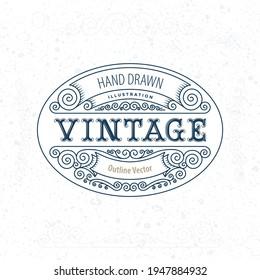 Vintage style label illustration. Outline calligraphic border design elements. Curled floral frame ornaments. Calligraphic design elements. Old paper texture. Hand drawn vector. Part of set.