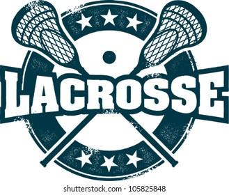 Vintage Style Lacrosse Sport Stamp