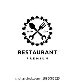 Vintage Style Logo for Canteen, Garage Workshop with Gear, Wrench, Spoon and Fork