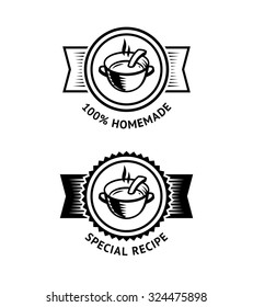 Vintage style logo with soup bowl isolated on white background. Vector badge for homemade and special food recipe, perfect for menu and packaging design
